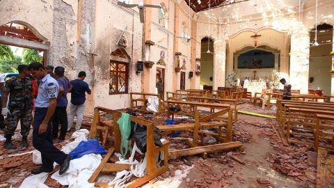 NEGOMBO, SRI LANKA - APRIL 21: Sri Lankan officials inspect St. Sebastian's Church in Negombo, north of Colombo, after multiple explosions targeting churches and hotels across Sri Lanka on April 21, 2019, in Negombo, Sri Lanka. At least 207 people have been killed and hundreds more injured after multiple explosions rocked three churches and three luxury hotels in and around Colombo as well as at Batticaloa in Sri Lanka during Easter Sunday mass.