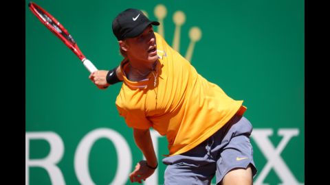 Canada's Denis Shapovalov returns the ball to Germany's Jan-Lennard Struff during their tennis match on day 3 of the Monte-Carlo ATP Masters Series tournament on Monday, April 15, in Monaco.