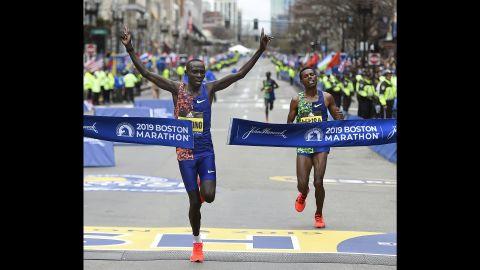 "Lawrence Cherono of Kenya wins the men's race of the <a href=""https://www.cnn.com/2019/04/15/sport/123rd-boston-marathon/index.html"" target=""_blank"">123rd Boston Marathon</a>, on Monday, April 15. Cherono beat out two-time Boston Marathon campion Lelisa Desisa of Ethiopia, at right."