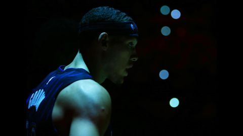 Aaron Gordon of the Orlando Magic is seen prior to Game Two of the first round of the 2019 NBA Playoffs against the Toronto Raptors on Tuesday, April 16, in Toronto.