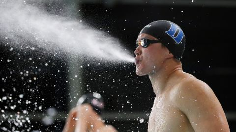 Yusake Legard blows water as he prepares for the Men's 50m Freestyle heats during Day Five of the British Swimming Championships on Saturday, April 20, in Glasgow.