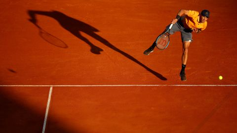 """Borna Coric of Croatia serves to Fabio Fognini of Italy in their quarterfinal match during day six of the Rolex Monte-Carlo Masters on Friday, April 19, in Monte-Carlo, Monaco. Fognini would go on to <a href=""""https://www.cnn.com/2019/04/20/tennis/rafael-nadal-fabio-fognini-monte-carlo-masters-spt-intl/index.html"""" target=""""_blank"""">defeat Rafael Nadal in the semifinals</a>."""