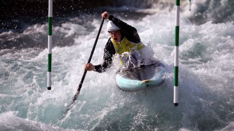Emily Davies races down the rapids during the Women's Canoe Single competition during the GB Senior and Olympic Selection Races in London on Saturday, April 20.