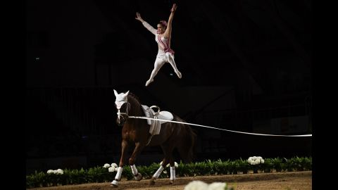 Marina Mohar of Switzerland competes in the FEI Vaulting World Cup final in Saumur, France on Thursday, April 18.