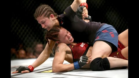Roxanne Modafferi, right, attempts to punch Antonina Shevchenko during their Women's Flyweight bout as part of UFC Fight Night 149 at Yubileyny Sports Palace in St. Petersburg, Russia on Saturday, April 20.
