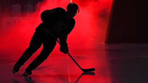 A Las Vegas Golden Knights player takes the ice before Game 4 of a first-round Stanley Cup Playoffs matchup against the San Jose Sharks at T-Mobile Arena in Las Vegas, on Tuesday, April 16.