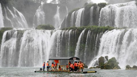 <strong>Daxin County, China: </strong>China's Detian Waterfall crosses the border between China and Vietnam and joins with the Ban Gioc Waterfall in Vietnam.