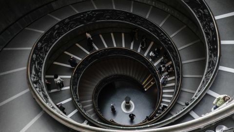 <strong>Vatican City:</strong> A spiral staircase inside the Vatican Museums, which were founded by Pope Julius II in the early 16th century.