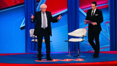 Sanders addresses the audience at a CNN town hall in Washington in April 2019.