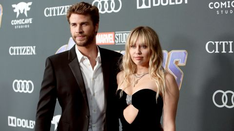 """Liam Hemsworth and Miley Cyrus attend the Los Angeles World Premiere of Marvel Studios' """"Avengers: Endgame"""" at the Los Angeles Convention Center on April 23, 2019 in Los Angeles, California.  (Photo by Jesse Grant/Getty Images for Disney)"""
