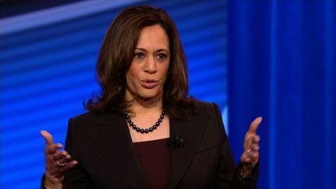 Sen. Kamala Harris speaks at a CNN Town Hall on Monday.