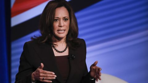 U.S. Senator and Democratic presidential hopeful Kamala Harris is seen during a live CNN Town Hall moderated by Don Lemon at Saint Anselm College on Monday, April 22, 2019, in Manchester, N.H. Elijah Nouvelage for CNN