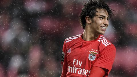 Benfica's Portuguese midfielder Joao Felix smiles during the Portuguese League football match between SL Benfica and CS Maritimo at the Luz stadium in Lisbon on April 22, 2019. (Photo by PATRICIA DE MELO MOREIRA / AFP)        (Photo credit should read PATRICIA DE MELO MOREIRA/AFP/Getty Images)