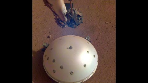 This image of InSight's seismometer was taken on the 110th Martian day, or sol, of the mission. The seismometer is called Seismic Experiment for Interior Structure, or SEIS.