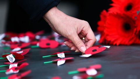 Poppies are laid on the Tomb of the Unknown Warrior during the Anzac Day Dawn Service at Pukeahu National War Memorial Park on April 25, 2018 in Wellington, New Zealand.