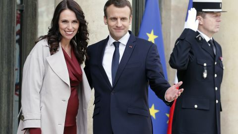 PARIS, FRANCE - APRIL 16:  French President Emmanuel Macron (R) welcomes New Zealand's Prime Minister Jacinda Ardern (L) prior to their meeting at the Elysee Palace on April 16, 2018 in Paris. Ardern is in Paris for a one-day visit.  (Photo by Chesnot/Getty Images)