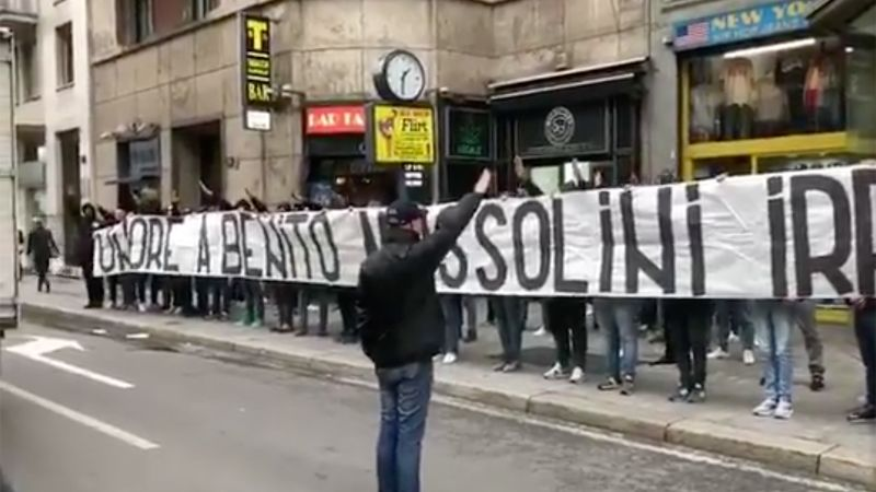 Lazio fans hang pro-Mussolini banner, make fascist salutes ahead of Liberation day - CNN International