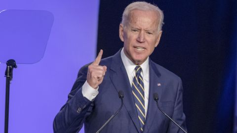 """WASHINGTON, DC - APRIL 05: Former Vice President Joe Biden  speaks at the International Brotherhood of Electrical Workers Construction and Maintenance conference on April 05, 2019 in Washington, DC. Former Vice President Joe Biden on Friday called President Donald Trump a """"tragedy in two acts"""" for the way he characterizes people and is consumed with personal grievances. (Photo by Tasos Katopodis/Getty Images)"""