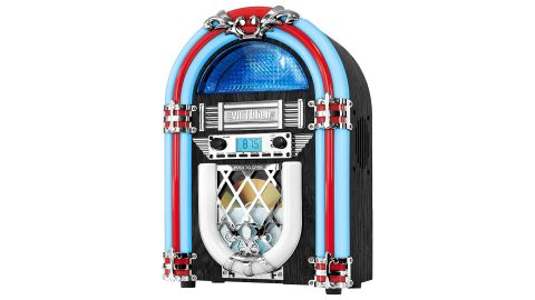 """<strong>Victrola Retro Desktop Jukebox with CD Player, FM Radio, Bluetooth, and Color Changing LED Lights ($65.99; </strong><a href=""""https://amzn.to/2DyxGzo"""" target=""""_blank"""" target=""""_blank""""><strong>amazon.com</strong></a><strong>)</strong>"""