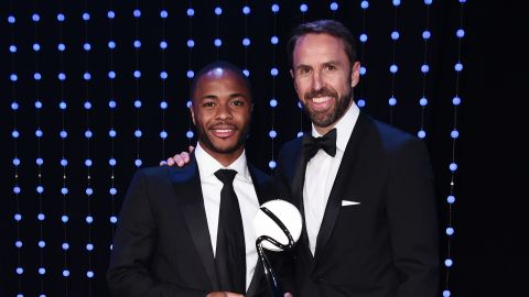 Raheem Sterling (L) was honoured for his fight against racism in football at the BT Sport Industry Awards.