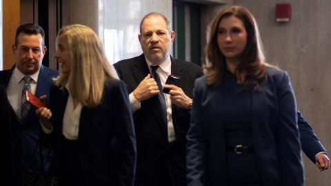 Harvey Weinstein enters State Supreme Court on Friday in New York City for a pretrial hearing.