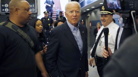 Former Vice President and Democratic presidential candidate Joe Biden arrives at the Wilmington train station Thursday April 25, 2019 in Wilmington, Delaware.