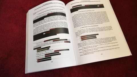 """Copies of the """"Mueller Report"""" printed by the US Government Publishing Office are seen at the US Capitol in Washington, DC on April 24, 2019."""