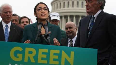 U.S. Rep. Alexandria Ocasio-Cortez at a news conference unveiling the Green New Deal resolution, February 7, 2019.