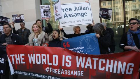 Pro-Assange demonstrators protest outside Westminster Magistrates Court on the day Assange was arrested.