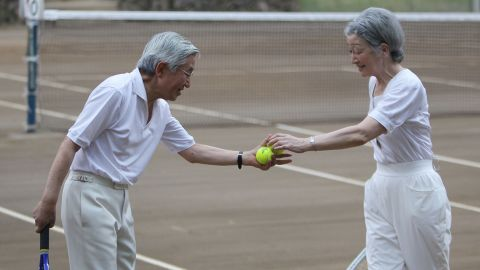 Akihito and Michiko play tennis together in 2010.