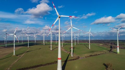 """28 January 2019, Brandenburg, Jacobsdorf: The wind energy park """"Odervorland"""" (aerial photo with a drone). Photo: Patrick Pleul/dpa-Zentralbild/ZB (Photo by Patrick Pleul/picture alliance via Getty Images)"""