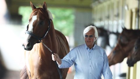 ELMONT, NY - JUNE 06:  Triple Crown and Belmont Stakes contender Justify is walked in his barn by trainer Bob Baffert after arriving  prior to the 150th running of the Belmont Stakes at Belmont Park on June 6, 2018 in Elmont, New York.  (Photo by Al Bello/Getty Images)