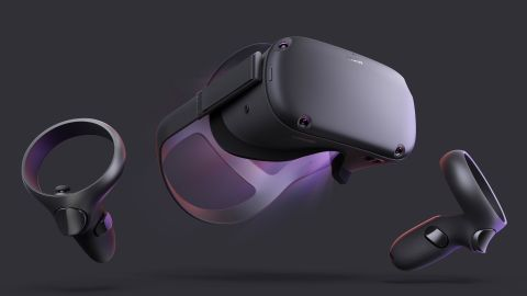 Facebook's new Oculus Quest VR headset and hand controls.