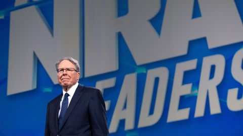 Wayne LaPierre, Executive Vice President and Chief Executive Officer of the NRA, arrives prior to a speech by US President Donald Trump at the National Rifle Association (NRA) Annual Meeting at Lucas Oil Stadium in Indianapolis, Indiana, April 26, 2019.