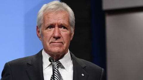 """LAS VEGAS, NV - APRIL 09:  """"Jeopardy!"""" host Alex Trebek speaks as he is inducted into the National Association of Broadcasters Broadcasting Hall of Fame during the NAB Achievement in Broadcasting Dinner at the Encore Las Vegas on April 9, 2018 in Las Vegas, Nevada. NAB Show, the trade show of the National Association of Broadcasters and the world's largest electronic media show, runs through April 12 and features more than 1,700 exhibitors and 102,000 attendees.  (Photo by Ethan Miller/Getty Images)"""