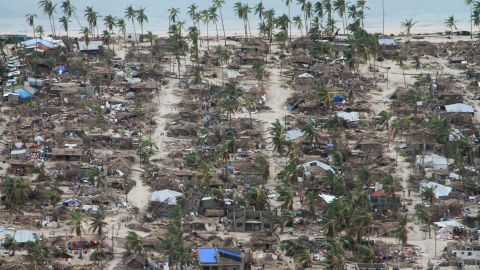 The devastation left behind after Cyclone Kenneth hit Northern Mozambique's Macomia district on April 25, 2019.