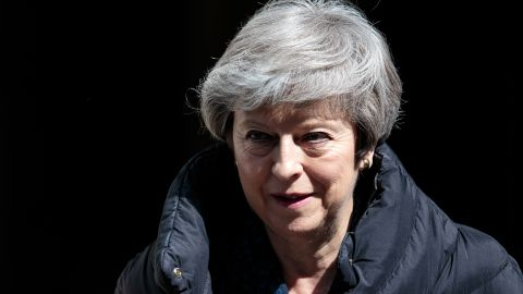 British Prime Minister Theresa May leaves Number 10 Downing Street for Prime Minister's Questions in Parliament on May 1.