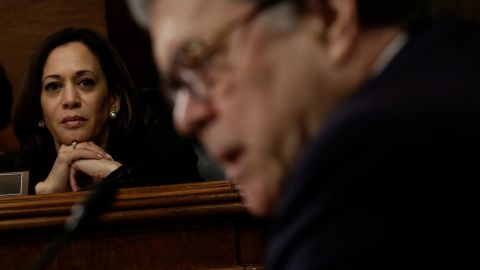 WASHINGTON, DC - MAY 1: U.S. Sen. Kamala Harris (D-CA) listens as U.S. Attorney General William Barr testifies before the Senate Judiciary Committee May 1, 2019 in Washington, DC. Barr testified on the Justice Department's investigation of Russian interference with the 2016 presidential election.  (Photo by Alex Wong/Getty Images)