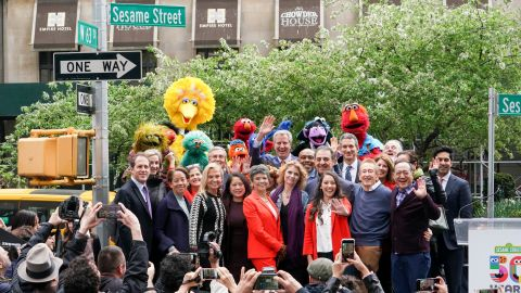 """In honor of Sesame Street's 50th anniversary, the City of New York officially named West 63rd Street and Broadway """"Sesame Street"""" and declared May 1, 2019, """"Sesame Street Day."""