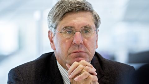 Stephen Moore, visiting fellow at the Heritage Foundation, listens during an interview in Washington, D.C., U.S., on Thursday, May 2, 2019. President Donald Trump's pick for a seat on the Federal Reserve Board said while he would withdraw from consideration if he becomes a liability from what he called a smear campaign, he doesnt think it will come to that. Photographer: Andrew Harrer/Bloomberg via Getty Images