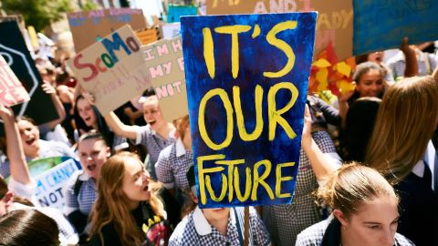 School students in Melbourne join a national day of action on May 3 to push the Australian government to prioritize its response to climate change.