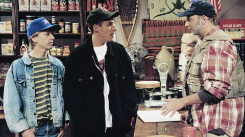 """David Spade, Adam Sandler and Chris Elliott act out a sketch on an episode of """"Saturday Night Live"""" that aired in May 1995."""