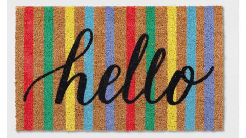 """<strong>18""""X30"""" Multi Stripe Hello Doormat - Sun Squad ($10.99, originally $10; </strong><a href=""""https://www.target.com/p/18-x30-multi-stripe-hello-doormat-sun-squad-153/-/A-54182514?"""" target=""""_blank"""" target=""""_blank""""><strong>target.com</strong></a><strong>)</strong><br />"""