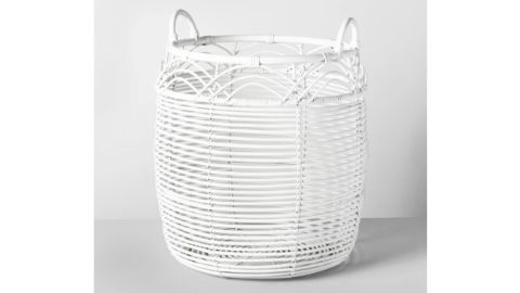 """<strong>18"""" x 18"""" Woven Rattan Basket White - Opalhouse ($34.99; </strong><a href=""""http://redirect.viglink.com?key=cee264513ad8ef39d602f2ea49303f1a&type=bk&u=https%3A%2F%2Fwww.target.com%2Fp%2F18-x-18-woven-rattan-basket-white-opalhouse-153%2F-%2FA-53775763%3F"""" target=""""_blank"""" target=""""_blank""""><strong>target.com</strong></a><strong>)</strong><br />"""