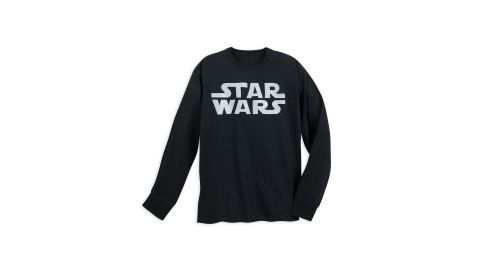 """<strong>Star Wars Logo Long Sleeve T-Shirt for Adults ($34.99; </strong><a href=""""https://www.shopdisney.com/star-wars-logo-long-sleeve-t-shirt-for-adults-1468945"""" target=""""_blank"""" target=""""_blank""""><strong>shopdisney.com</strong></a><strong>)</strong><br />"""