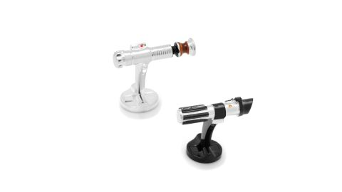 """<strong>Star Wars Lightsaber Cufflinks ($135; </strong><a href=""""https://click.linksynergy.com/deeplink?id=Fr/49/7rhGg&mid=1237&u1=0503starwarsday&murl=https%3A%2F%2Fshop.nordstrom.com%2Fs%2Fcufflinks-inc-star-wars-lightsaber-cufflinks%2F4750796%3Forigin%3Dkeywordsearch-personalizedsort%26breadcrumb%3DHome%252FAll%2520Results%26color%3Dsilver"""" target=""""_blank"""" target=""""_blank""""><strong>nordstrom.com</strong></a><strong>)</strong><br />"""