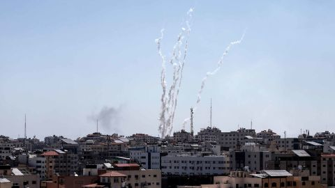 A picture taken from Gaza on May 4, 2019 shows missiles being launched toward Israel.
