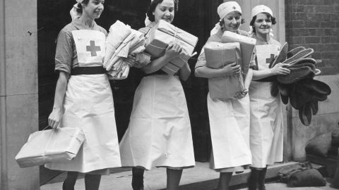 """British Red Cross nurses in more """"traditional"""" outfits, during World War II."""