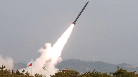 This photo, provided on May 5 by the North Korean government, shows a weapons test the day before.