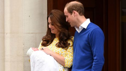 """Catherine, Duchess of Cambridge and Prince William, Duke of Cambridge leave The Lindo Wing of St. Mary's Hospital with their newborn daughter, <a href=""""http://www.cnn.com/2015/05/02/world/gallery/royal-baby-princess-announced/index.html"""" target=""""_blank"""">Princess Charlotte</a>, on May 2, 2015 in London. Charlotte is fourth in line to the British throne, behind Prince Charles, William and her big brother, George."""